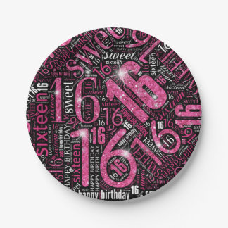 Sweet Sixteen Sparkle Word Cloud Pink ID265 Paper Plate