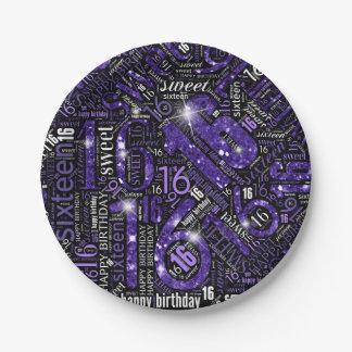 Sweet Sixteen Sparkle Word Cloud Purple ID265 Paper Plate