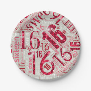 Sweet Sixteen Sparkle Word Cloud Red ID265 Paper Plate  sc 1 st  Zazzle & Word Cloud Paper Plates u0026 Word Cloud Disposable Plate Designs ...