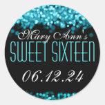 Sweet Sixteen Sparkling Lights Blue Round Sticker
