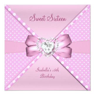 Sweet Sixteen Sweet 16 Birthday Party Pink Spot 13 Cm X 13 Cm Square Invitation Card