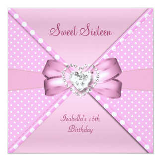 Sweet Sixteen Sweet 16 Birthday Party Pink Spot Card