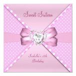 Sweet Sixteen Sweet 16 Birthday Party Pink Spot Custom Announcements