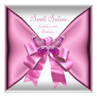 Sweet Sixteen Sweet 16 Birthday Party Pretty Pink 13 Cm X 13 Cm Square Invitation Card