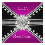 Sweet Sixteen Sweet 16 Butterfly Hot Pink Black 13 Cm X 13 Cm Square Invitation Card