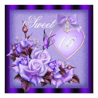 Sweet Sixteen, Sweet 16 Purple Butterfly Purple Ro 13 Cm X 13 Cm Square Invitation Card