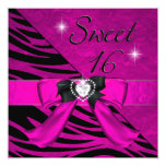 Sweet Sixteen Sweet 16 Zebra Hot Pink Black Personalized Invitations