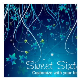 Sweet Sixteen Teal Blue Swirls Party Banner Poster