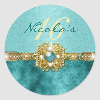 """sweet sixteen"" teal gold 16 birthday classic round sticker"