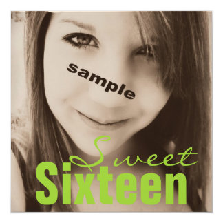 Sweet Sixteen Teen Birthday Party (Lime Green) 13 Cm X 13 Cm Square Invitation Card