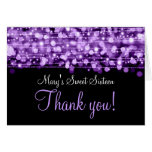 Sweet Sixteen Thank You Party Sparkles Purple Greeting Card