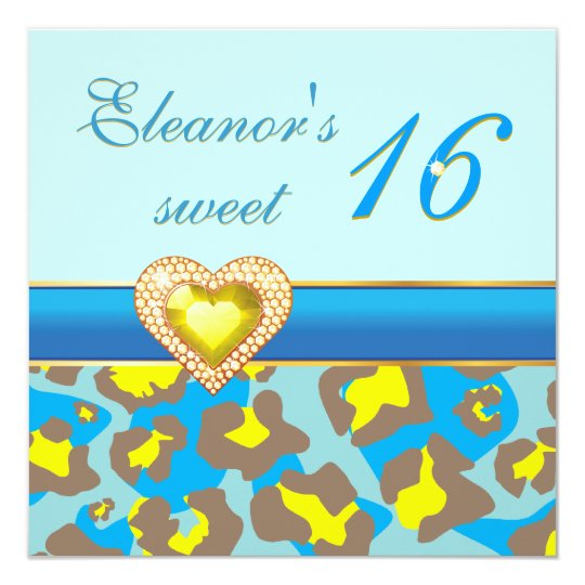 Sweet sixteen yellow blue leopard jewel heart card