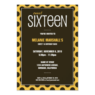 Sweet Sixteen Yellow & Brown | Party Invitations