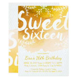 Sweet Sixteen, Yellow Watercolor Invitations