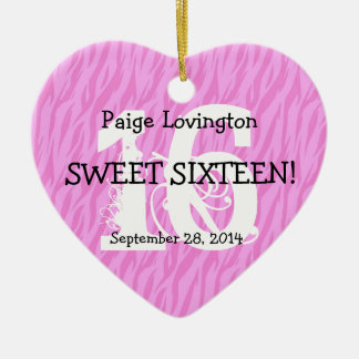 Sweet Sixteen Zebra Birthday Celebration Gift V10A Christmas Ornament