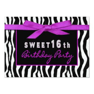 "SWEET SIXTEEN ZEBRA BIRTHDAY PARTY INVITATION 5"" X 7"" INVITATION CARD"