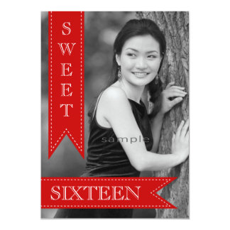 Sweet Sixteentbh Birthday Red Ribbons Card