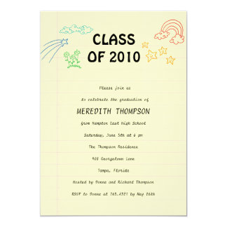"Sweet Sketch Graduation Party Invitation 5"" X 7"" Invitation Card"