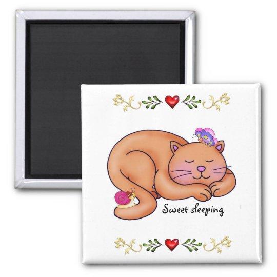 Sweet Sleeping Kitty Square Magnet