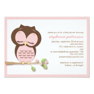 Sweet Sleepy Pink Owl Girl Baby Shower Invitation