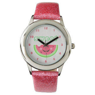 Sweet Smile Watermelon Cartoon Glitter Strap Watch