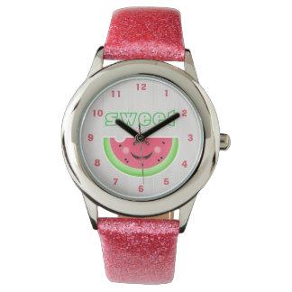Sweet Smile Watermelon Cartoon Glitter Strap Watch