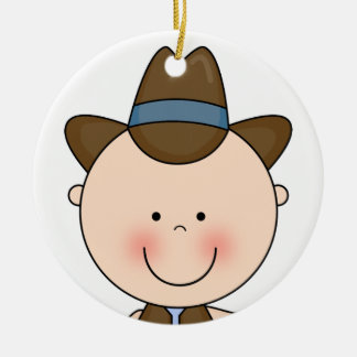 Sweet Smiling Baby Boy Western Cowboy Keepsake Christmas Ornament