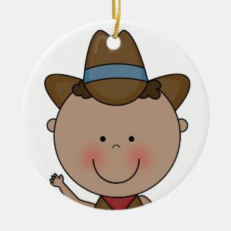 Sweet Smiling Baby Boy Western Cowboy Keepsake Round Ceramic Decoration