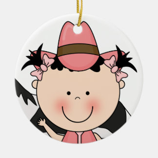 Sweet Smiling Baby Girl Western Cowgirl Keepsake Christmas Ornament