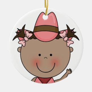 Sweet Smiling Baby Girl Western Cowgirl Keepsake Round Ceramic Decoration