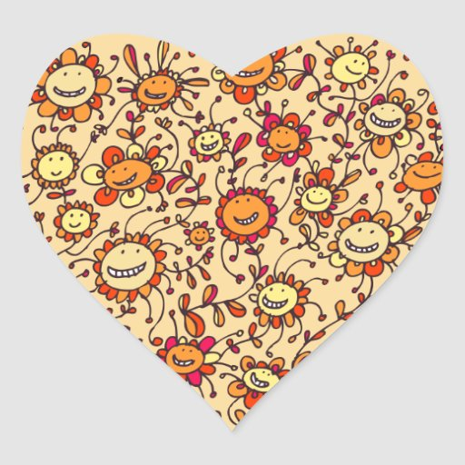 Sweet Smiling Sunflowers Stickers (Heart)