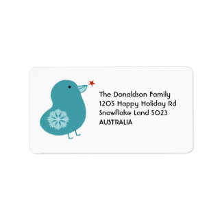 Sweet Snowflake Bird Christmas Address Labels