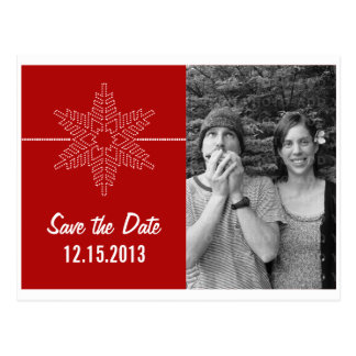Sweet Snowflake Save the Date Postcard, Red Postcard