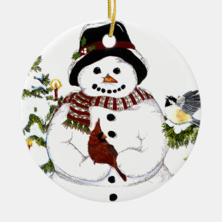 Sweet snowlady and cardinal, chickadee ornament. christmas ornament