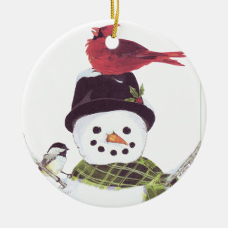 Sweet snowman and cardinal ornament. christmas ornament