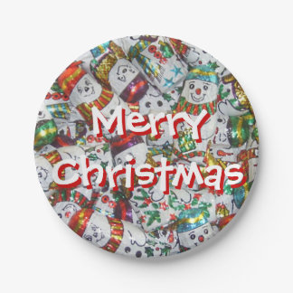 Sweet Snowmen Merry Christmas paper plates