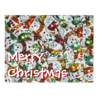 Sweet Snowmen Merry Christmas postcard horizontal