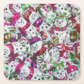 Sweet Snowmen Pink coaster set square