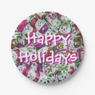 Sweet Snowmen Pink Happy Holidays paper plates