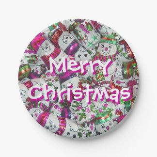 Sweet Snowmen Pink Merry Christmas paper plates