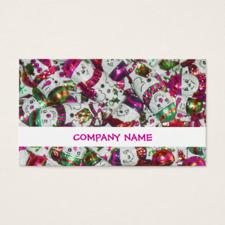 Sweet Snowmen Pink stripe business card white