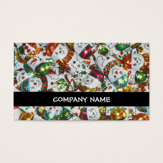 Sweet Snowmen stripe business card black