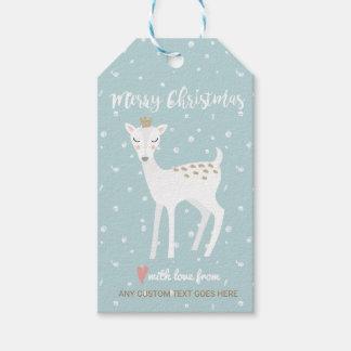 Sweet Snowy Deer Doe Merry Christmas Custom Gift Tags