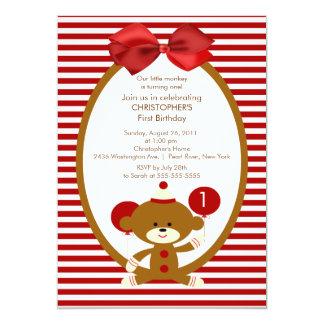 Sweet Sock Monkey Kids Birthday Invitation