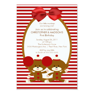 Sweet Sock Monkeys TWINS Birthday Invitation