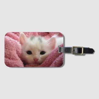 Sweet soft kitten luggage tag