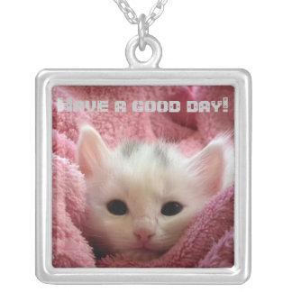 Sweet soft kitten silver plated necklace