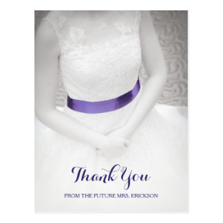 Sweet Something Blue Sash Bridal Shower Thank You Postcard