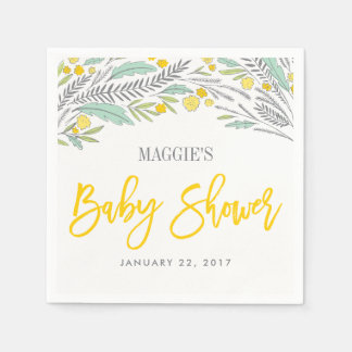 Sweet Sprigs Neutral Customized Baby Shower Napkin Disposable Napkin