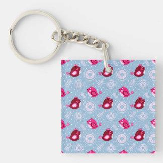 Sweet Spring Birds Single-Sided Square Acrylic Key Ring
